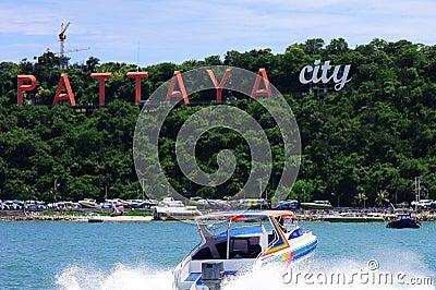 Pattaya city sea beach boat