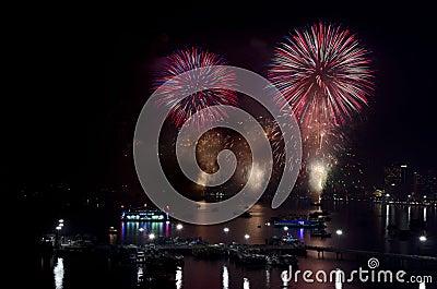 Pattaya International Fireworks Festival 2012 Editorial Photo