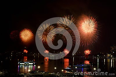 Pattaya International Fireworks Festival 2012 Editorial Stock Photo