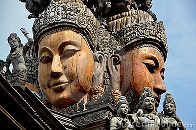 Pattaya, Thailand: Carved Buddha Faces