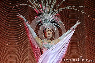 Pattaya, Thailand: Showgirl at Alcazar Theatre Editorial Stock Image