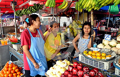 Pattaya, Thailand: Women Selling Fruit at Market Editorial Stock Photo