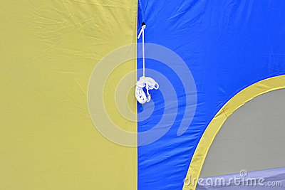 Patter of tent in blue and yellow