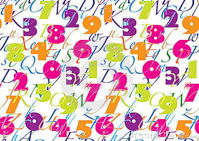 Pattern with alphabet & number seamless