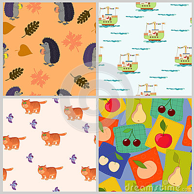 Pattern with animals and  fruits