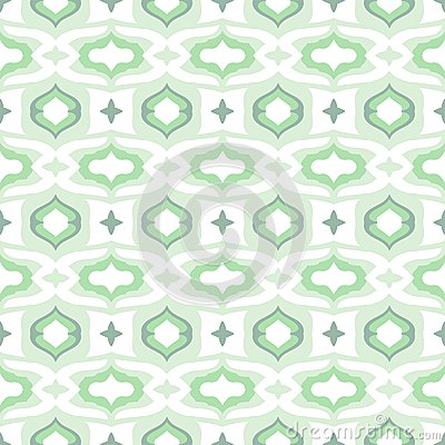 Pattern with Arabic motifs in cool mint green