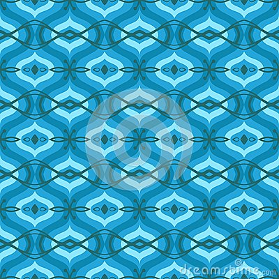 Pattern with Arabic motifs in shades of blue