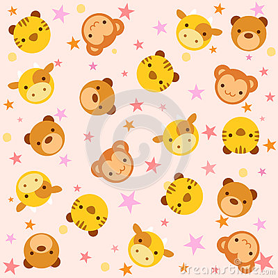 Pattern with baby animals
