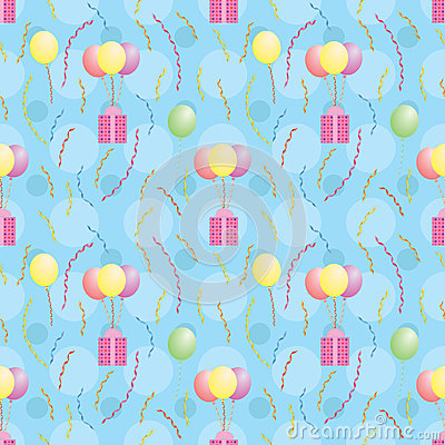 Pattern with balloons carrying presents