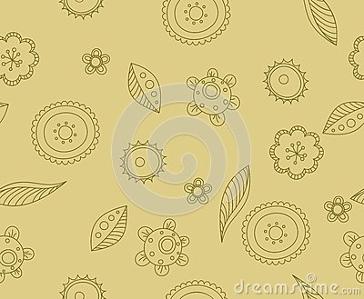 Pattern beige flowers