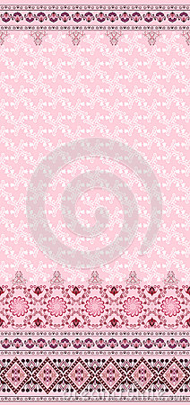 Pattern with bells and a wide border on a pink bac