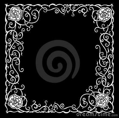 Pattern With Black Roses And Curves.