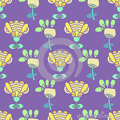 Pattern with bright flowers on a purple background
