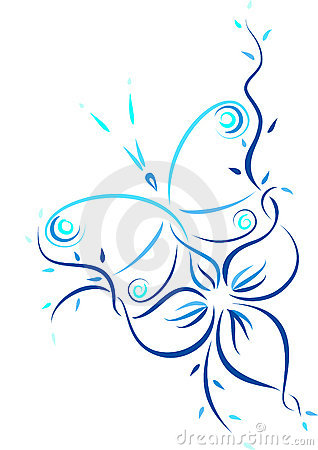 Pattern of the butterfly and the flower