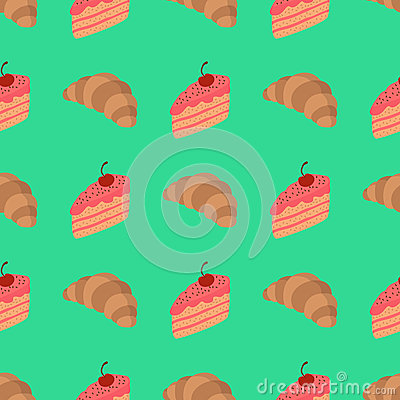 Pattern with cake and croissant Vector Illustration