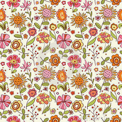 Pattern with cartoon flowers