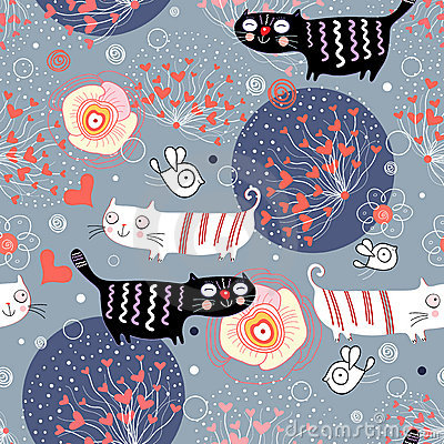 Pattern with cats and hearts