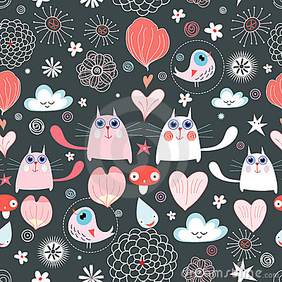 Pattern of the cats and hearts