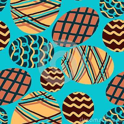 Pattern with colored eggs on a blue background Stock Photo