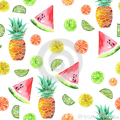 Pattern with the colored watercolor candied fruits, pineapple, lime and watermelon Stock Photo