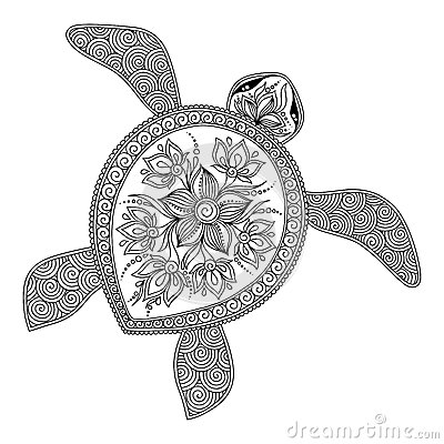 Pattern For Coloring Book Decorative Graphic Turtle Stock Vector Image 62050184