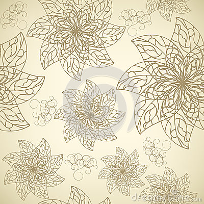Pattern with contour flowers