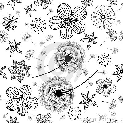 Pattern of dandelions and flowers
