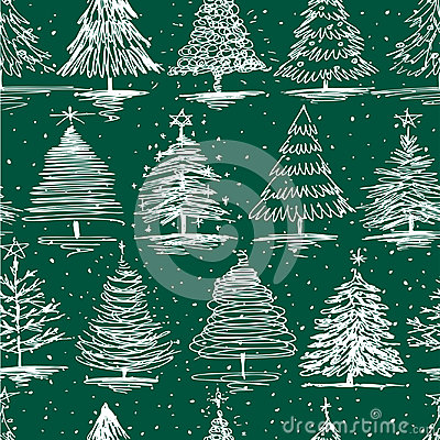 Pattern of the different christmas trees Vector Illustration
