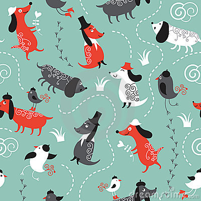 pattern with dogs and birds