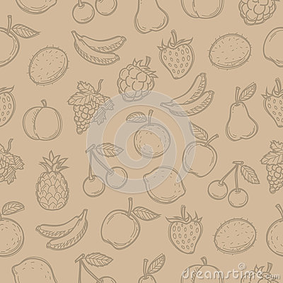 Pattern doodle drawn fruits