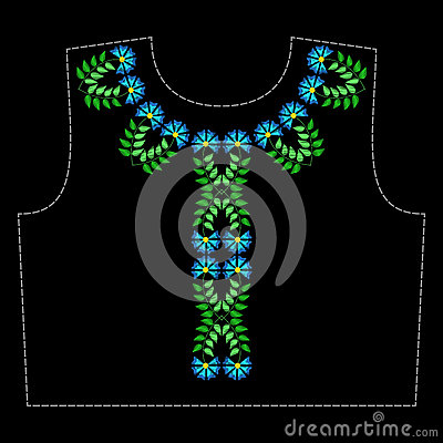 A pattern for embroidery the neck of clothing Vector Illustration