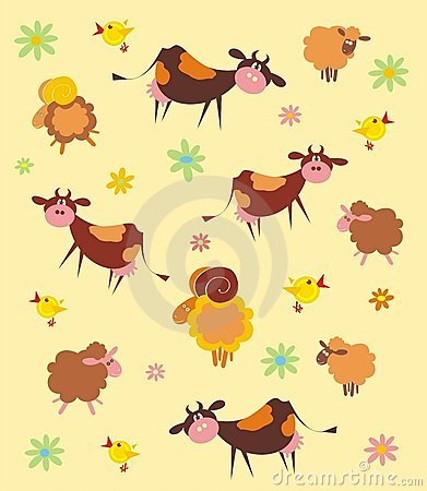Pattern with farm animals