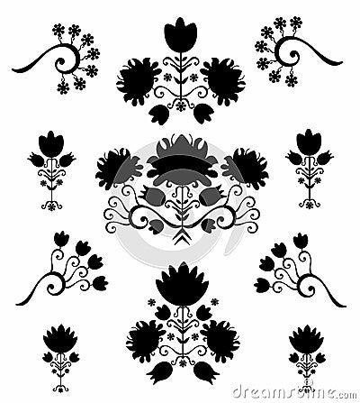 Pattern floral  black & white
