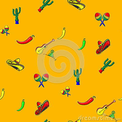 Free Pattern For Cinco De Mayo With A Sombrero, Maracas, Jalapeno, Margarita, Guitar And Cactus Stock Photography - 54986712