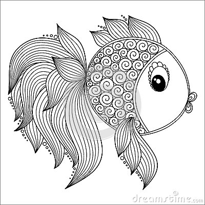 Free Pattern For Coloring Book. Cute Cartoon Fish. Royalty Free Stock Photo - 62050325