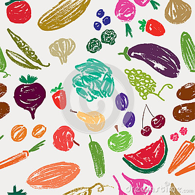 Pattern with a fruit and vegetables