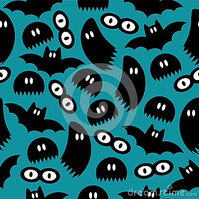 Pattern with ghosts and bats