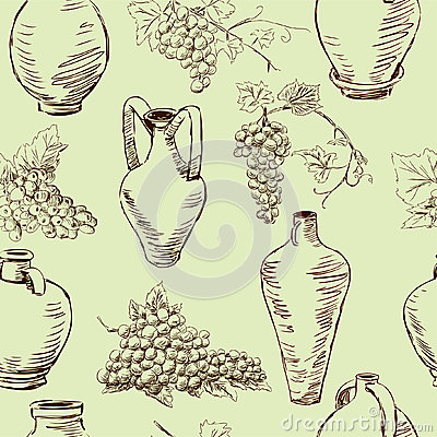 Pattern with a grape and jugs
