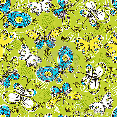Pattern of hand draw  butterflies, vector