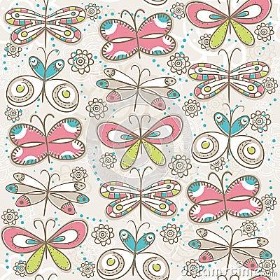 Pattern of hand draw  butterflies, vector