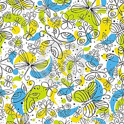 Pattern of hand draw butterflyies