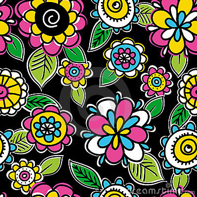 Pattern of hand draw  flowers