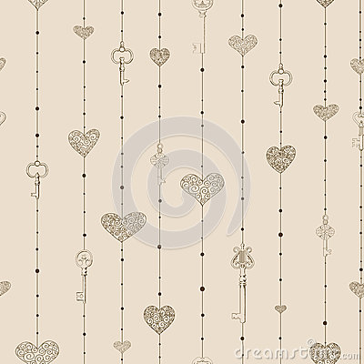Pattern with hanging keys and hearts