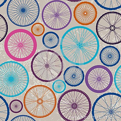 Free Pattern Of Bycicles Wheels. Stock Photography - 122397862
