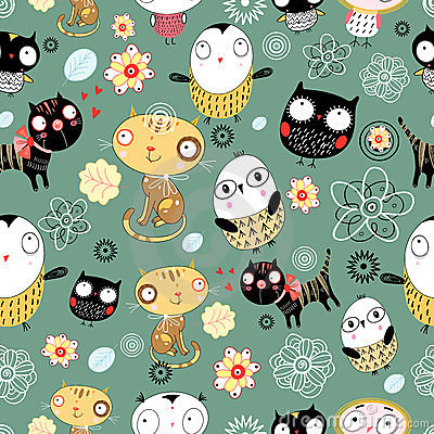 Free Pattern Of Cats And Owls Stock Photo - 23658250