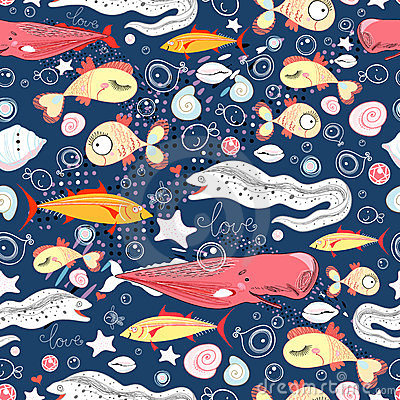 Free Pattern Of Fish Royalty Free Stock Photo - 23432495