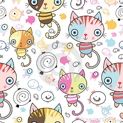 Free Pattern Of Kittens And Fish Stock Photos - 19478363