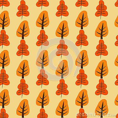 Pattern with orange and red trees Vector Illustration
