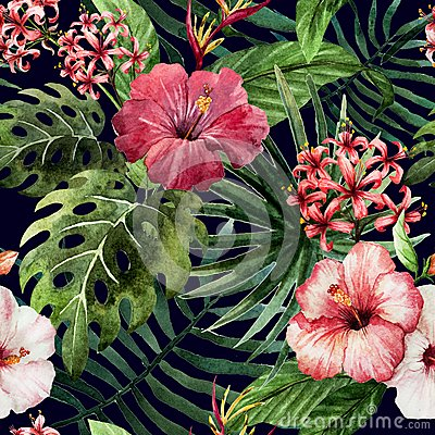 Free Pattern Orchid Hibiscus Leaves Watercolor Tropics Stock Photo - 47666580