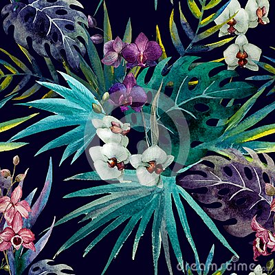 Free Pattern Orchid Hibiscus Leaves Watercolor Tropics Royalty Free Stock Photos - 47666588
